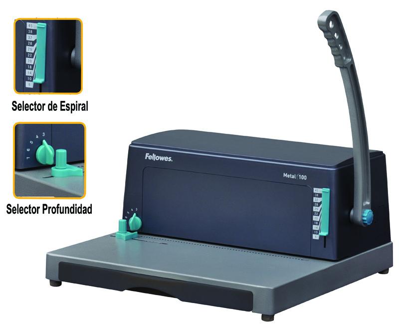 ENCUADERNADORA FELLOWES DE ESPIRAL METÁLICO METAL 100