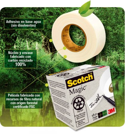 Pack de 9 rollos de cinta adhesiva Scotch Magic 900 ecológica 19mm x 33m