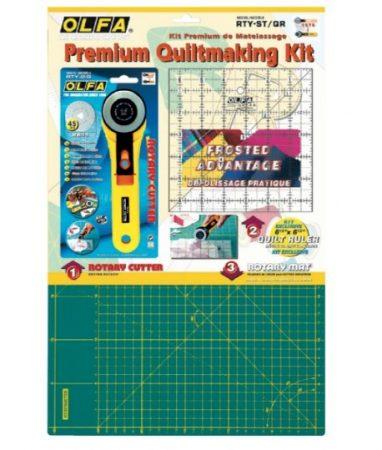 Kit Premium de iniciación al patchwork Olfa: cutter + plancha salva-cortes + regla