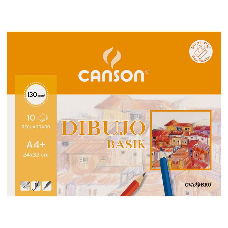 Paquete de 10 láminas de dibujo sin recuadro A4+ de 130 grs/m² Canson