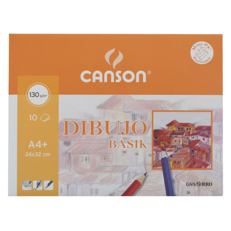 Paquete de 10 láminas de dibujo sin recuadro A3+ de 130 grs/m² Canson