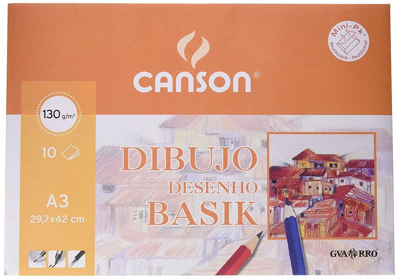 Paquete de 10 láminas de dibujo con recuadro A3+ de 130 grs/m² Canson