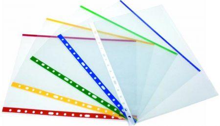 Caja de 100 fundas de PP cristal multitaladro Fº con indicador de color azul y refuerzo Grafoplas
