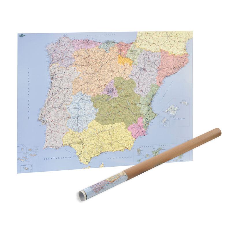MAPA ESPAÑA Y PORTUGAL EN ROLLO 103*129