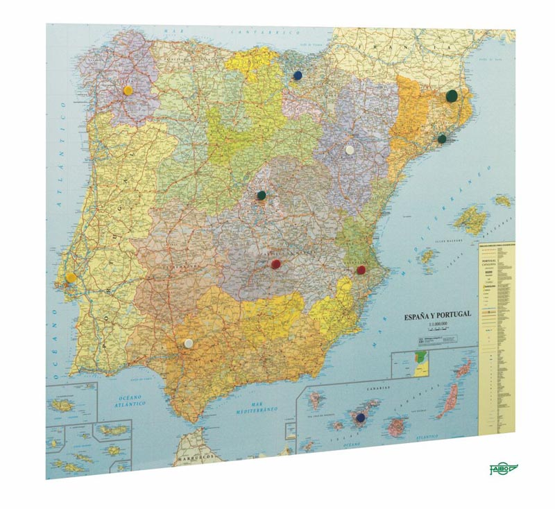 MAPA ESPAÑA Y PORTUGAL VITRIFICADO MARCO ALUMINIO 103*129