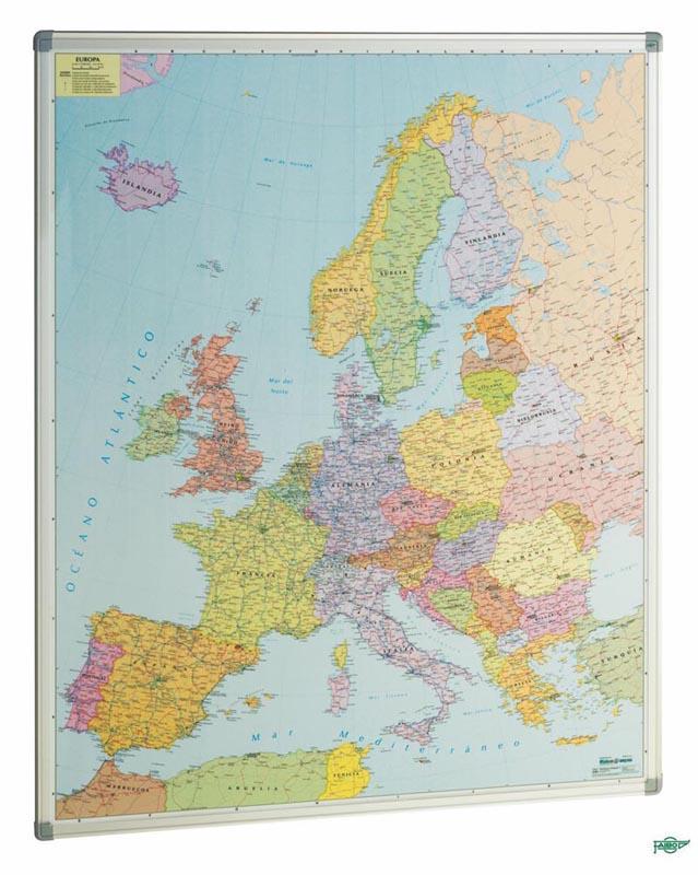 MAPA EUROPA VITRIFICADO MARCO ALUMINIO 93*119