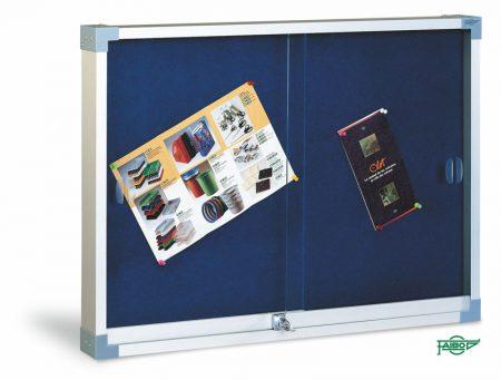 Vitrina de corcho tapizado en azul con puertas correderas de 90 x 120 cm Faibo
