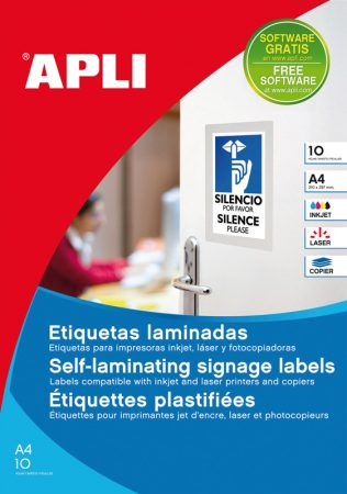 Bolsa de 10 hojas de etiquetas laminadas transparentes Apli 84,5 x 54 mm