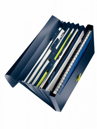 Clasificador acordeón re:cycle de plástico azul marino reciclado A4 con 5 departamentos Leitz