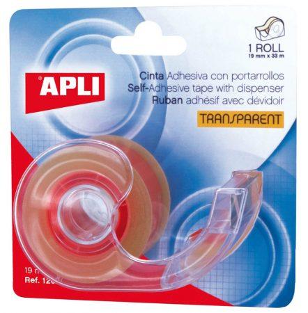 Blister de 1 cinta adhesiva Apli 19mm x 33m con dispensador