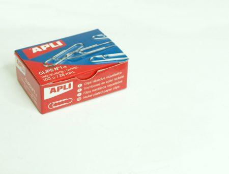 Caja de 100 clips niquelados Apli26 MM Nº 1,5
