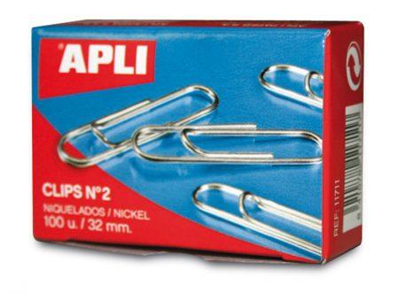 Caja de 100 clips niquelados Apli 32 MM Nº 2