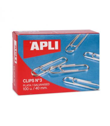 Caja de 100 clips niquelados Apli 40 MM Nº 3