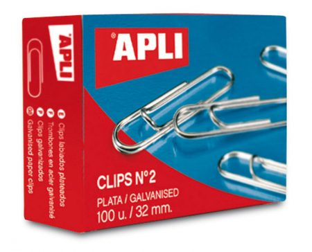 Caja de 100 clips plateados Apli 32 MM Nº 2
