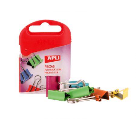 Caja de 6 pinzas con pala abatible colores surtidos Apli 19mm