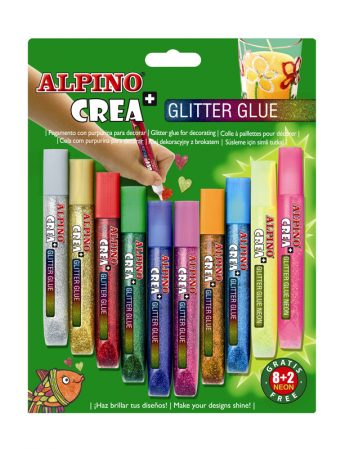 Blíster de 8+2 pegamentos Alpino Glitter Classic
