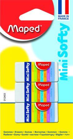Blíster de 3 gomas de borrar Maped Mini Softy