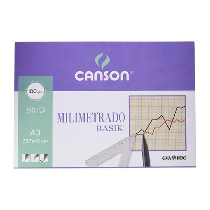 BLOCK CANSON MILIMETRADO A3 50H 100GR