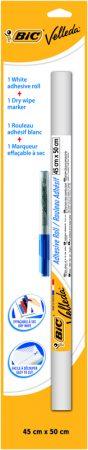 Pizarra blanca adhesiva en rollo de 45 x 50 cm con rotulador Bic Velleda