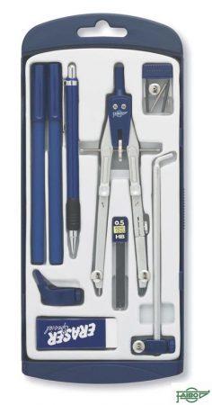 Compás con bigotera, portaminas y alargadera para circunferencias hasta 520 mm Faibo
