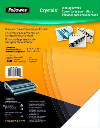 Paquete de 100 láminas de encuadernación de PVC negro A4 de 180 μ Fellowes