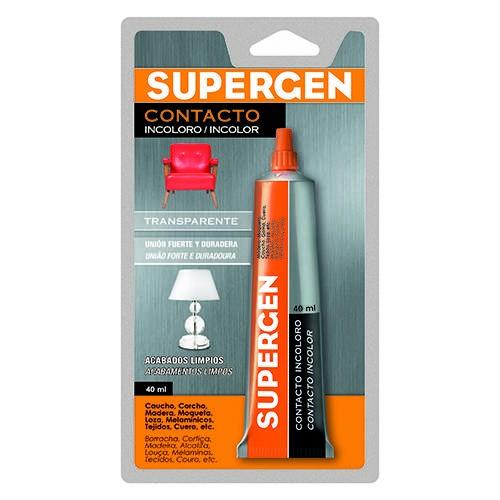 Blíster de 1 pegamento de contacto incoloro Supergen 40 ml.
