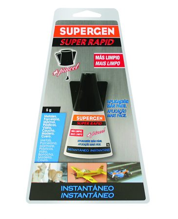 Blíster de 1 pegamento instantáneo con pincel Supergen 5 grs.