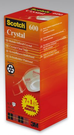 Pack de 8 rollos de cinta adhesiva Scotch Crystal 19mm x 33m
