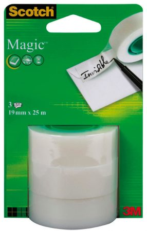 Blíster de 3 rollos de cinta adhesiva invisible Scotch Magic 19mm x 25m