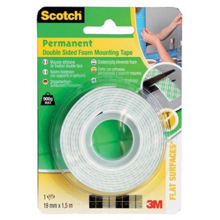 Blister de cinta adhesiva de doble cara blanca 19mm x 1,5m