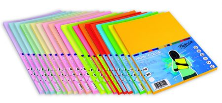 Paquete de 100 hojas de papel A4 de 80 gr surtido Colores Fluorescentes