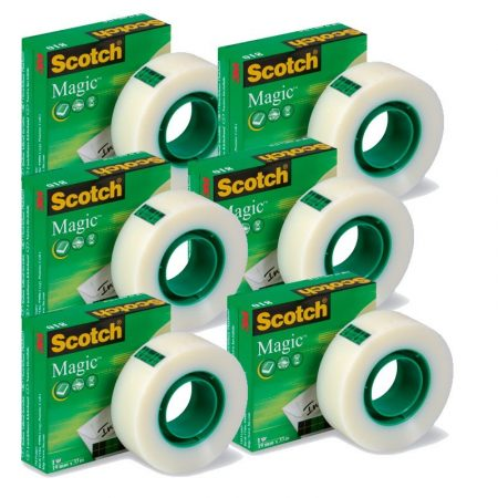 Pack de 5+1 rollos de cinta adhesiva invisible Scotch Magic 19mm x 33m