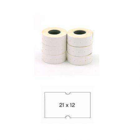 Pack de 6 rollos de etiquetas blancas permanentes para etiquetadora Apli 21 x 12 mm
