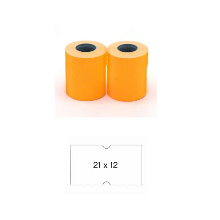 Pack de 6 rollos de etiquetas naranjas flúor permanentes para etiquetadora Apli 21 x 12 mm