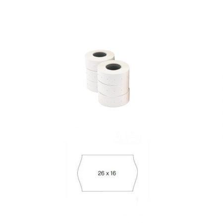 Pack de 6 rollos de etiquetas blancas permanentes sinusoidales para etiquetadora Apli 26 x 16 mm