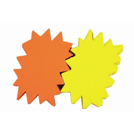 PACK 50 CARTELES FLASH NARANJA Y AMARILLO FLUOR APLI 80 X 120 MM 100403