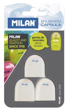 Blíster de 3 gomas de recambio para afilaborra Milan Capsule