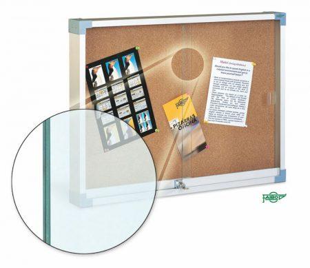 Vitrina de corcho con puertas correderas y cristal de seguridad de 60 x 80 cm Faibo