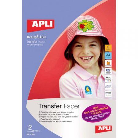 Papel transfer para todo tipo de prendas APLI 10955 (2 Hojas)