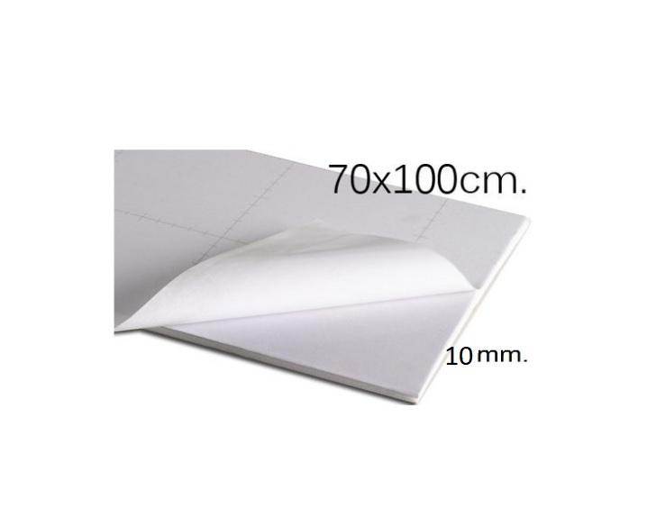 Plancha de cartón pluma adhesivo blanco de 70 x 100 mm con grosor de 10 mm