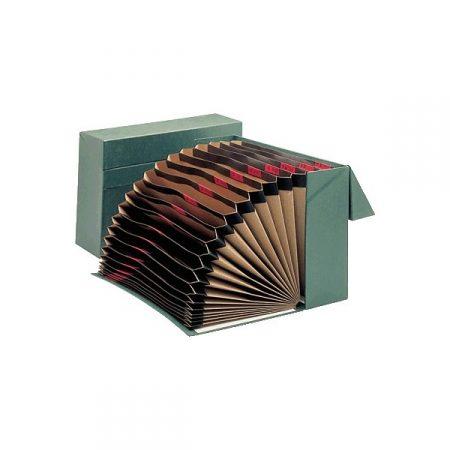 Caja de transferencia acordeón de cartón verde A4 con lomo de 105 mm