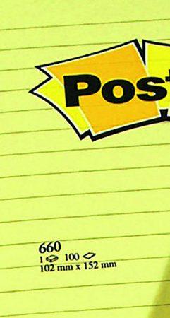 Post it 660 amarillo 102x152 líneas 100h