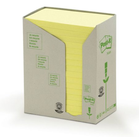 Post it 16 bl reciclado amarillo 76*127 655-1t