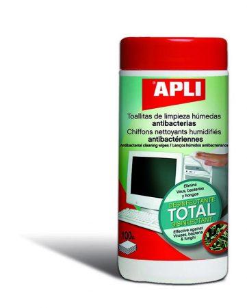 BOTE DE 100 TOALLITAS DE LIMPIEZA ANTIBACTERTIAS APLI