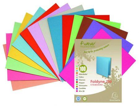 Caja de 100 Subcarpetas cartulina A4 250 gr. Foldyne colores surtidos