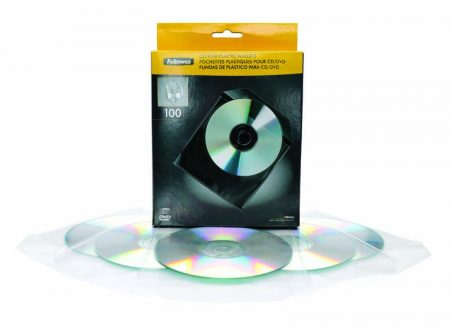 PACK DE 100 SOBRES DE PLÁSTICO PARA CD/DVD FELLOWES