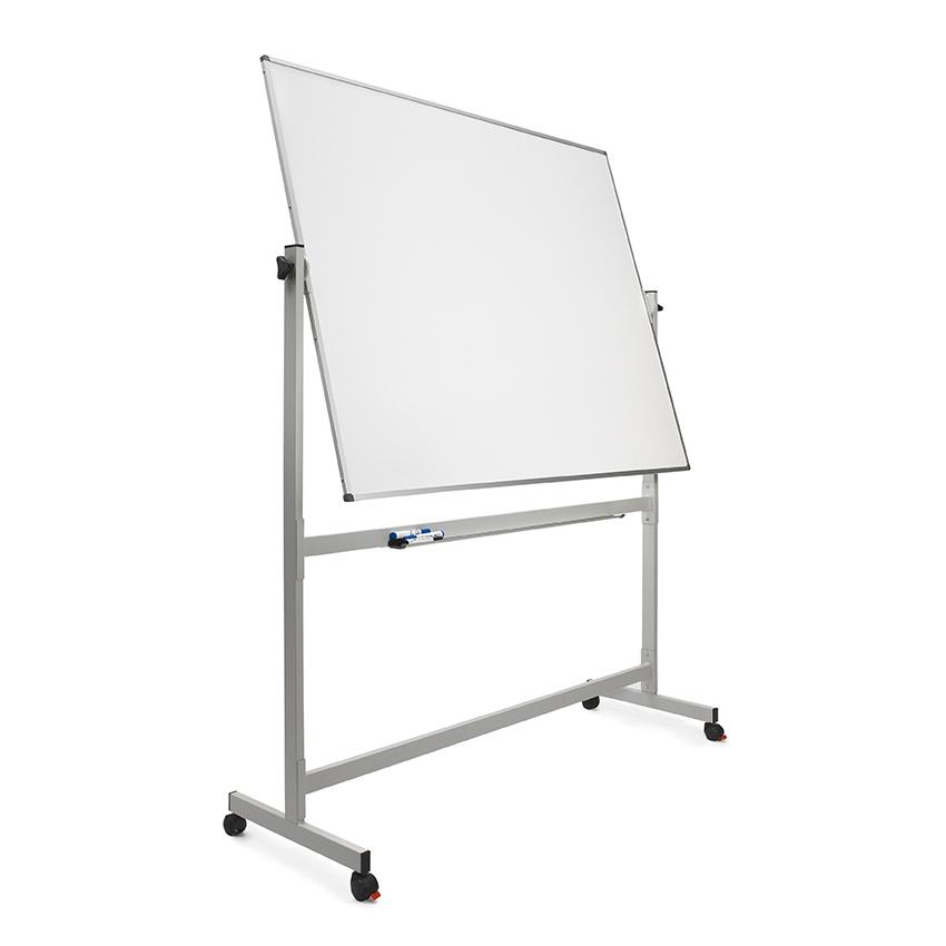 Pizarra laminada blanca volteable con marco de aluminio y soporte con ruedas de 120 x 150 cm Planning Sisplamo