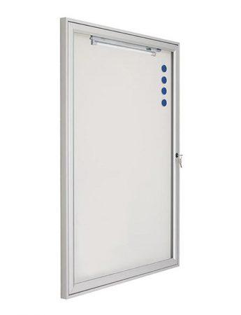 Vitrina mural para exterior con fondo magnético blanco y puerta abatible de 70 x 55 cm Planning Sisplamo