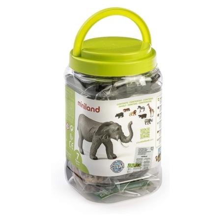 ANIMALES SELVA 7 FIGURAS / BOTE CON ASA
