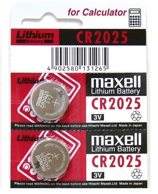 Blíster de 2 pilas de botón CR2025 de 3V Maxell